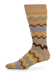 Saks Fifth Avenue Zig Zag Stripe Mid Calf Socks Multi