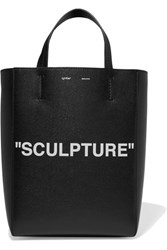 Off White Medium Printed Textured Leather Tote Black