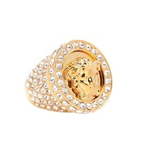 Versace Crystal Embellished Medusa Ring Gold