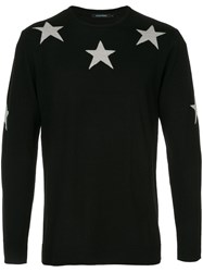 Guild Prime Star Intarsia Knit Jumper Acrylic Wool Black