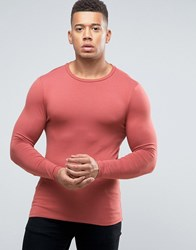 Asos Extreme Muscle Long Sleeve T Shirt In Pink Red