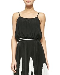 Alice Olivia Spaghetti Strap Bubble Tank Black