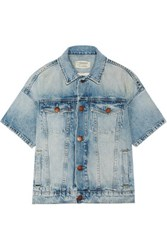 Current Elliott The Rolled Sleeve Trucker Denim Jacket Light Denim