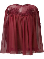 Chloe Cherry Guipure Blouse Red