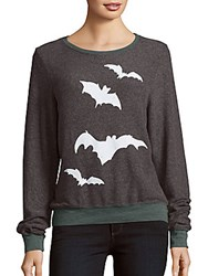 Wildfox Couture Bat Print Long Sleeve Pullover Night Storm