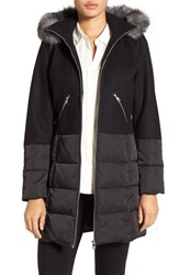 Catherine Malandrino Women's Mixed Media Parka With Faux Fur Trim