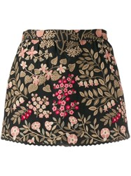 Red Valentino Floral Jacquard Mini Skirt Black
