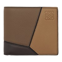 Loewe Taupe And Tan Puzzle Bifold Wallet