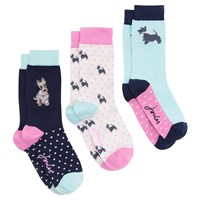 Joules Scotty Dog Pattern Anke Socks Pack Of 3 Multi