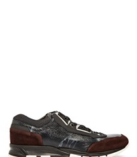 Lanvin Tie Dye Leather Panel Sneakers Black