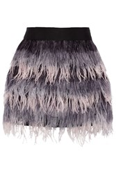 Milly Feather And Silk Mini Skirt Purple