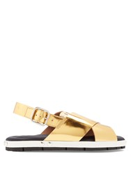 Marni Fusbett Slingback Leather Sandals Gold
