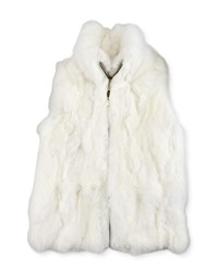 Adrienne Landau Girls' Rabbit Fur Vest Cream
