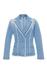 Blumarine Fringe Denim Jacket Blue