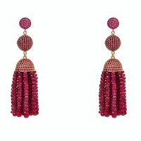 Latelita London Tassel Ball Earring Ruby Rosegold Red Rose Gold Pink