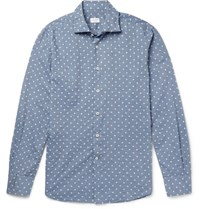 Incotex Slim Fit Polka Dot Slub Cotton Shirt Blue