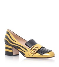 Gucci Marmont Fringed Loafers 55 Female Gold