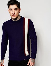 Pretty Green Sweater With Bold Horizontal Stripe Navy