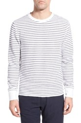 Relwen Stripe French Terry Long Sleeve Crewneck Sweater White