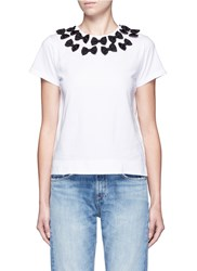 Tu Es Mon Tresor Ribbon Collar Cotton Jersey T Shirt White