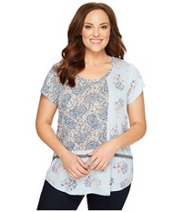 Lucky Brand Plus Size Paisley Mixed Tee Celestial Blue Women's T Shirt