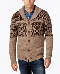 Weatherproof Vintage Men's Fair Isle Cardigan Mocha