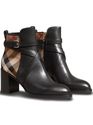 Burberry House Check And Leather Ankle Boots Black
