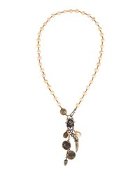 Love Heals Long Champagne Pearl Pendant Necklace Brown