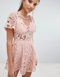Love Triangle Lace Playsuit Pink