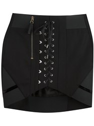 Anthony Vaccarello Lace Up Front Mini Skirt Black