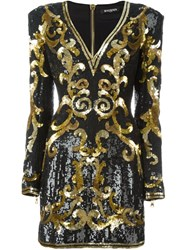Balmain Baroque Pattern Dress Black