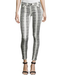7 For All Mankind Gwenevere Houndstooth Plaid Ankle Jeans Black White