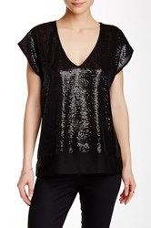 Velvet By Graham And Spencer Sequin Chiffon Top Black