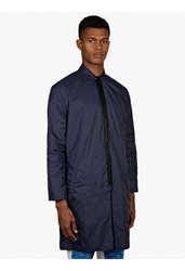 Agi And Sam Men's Navy Blue Long Sports Waterproof Coat