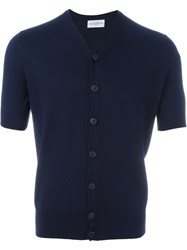 Ballantyne Short Sleeve Cardigan Blue