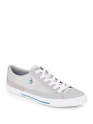 Original Penguin Quest Leather Suede And Mesh Low Top Sneakers Silver