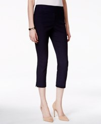Charter Club Pull On Jacquard Capri Pants With Tummy Control Only At Macy's Deepest Navy