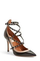 Women's Valentino 'Love Latch' Strappy Grommet Pump Black