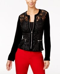 Inc International Concepts Velvet Sleeve Lace Peplum Jacket Only At Macy's Deep Black