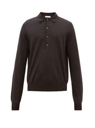 The Row Dylan Long Sleeved Wool Polo Shirt Black
