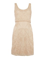 Adrianna Papell Evening Short Sleeveless Layered Beaded Dress Champagne