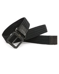 Selected Black Woven Belt With Leather Detail