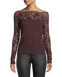 Bailey 44 Black Site Lace Off Shoulder Top Dark Red