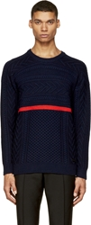 Burberry Navy Cable Knit Sweater