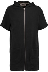 Solid And Striped Cloque Cotton Blend Hooded Mini Dress Black