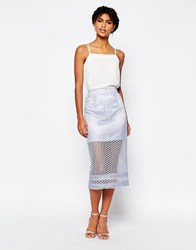 Asos Pencil Skirt In Lace Co Ord Lilac Purple