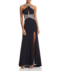 Aqua Embellished Open Back Gown 100 Exclusive Navy Mint
