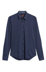 Jared Lang Trim Fit Sport Shirt Navy Knit