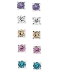 B. Brilliant Sterling Silver Earring Set Multicolor Cubic Zirconia Five Stud Earring Set 1 Ct. T.W.