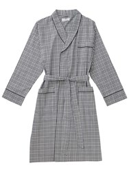 Otis Batterbee Prince Of Wales Check Cotton Robe Grey